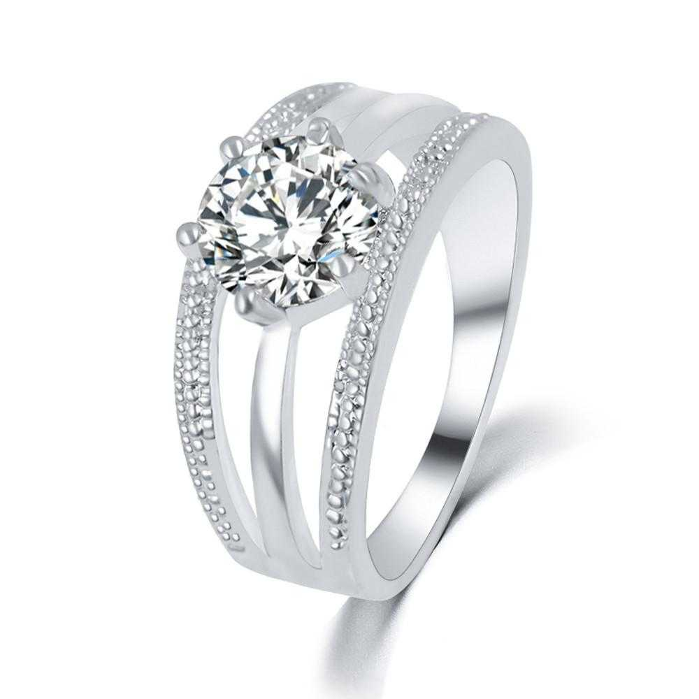 Austrian Crystal Flower Engagement Ring
