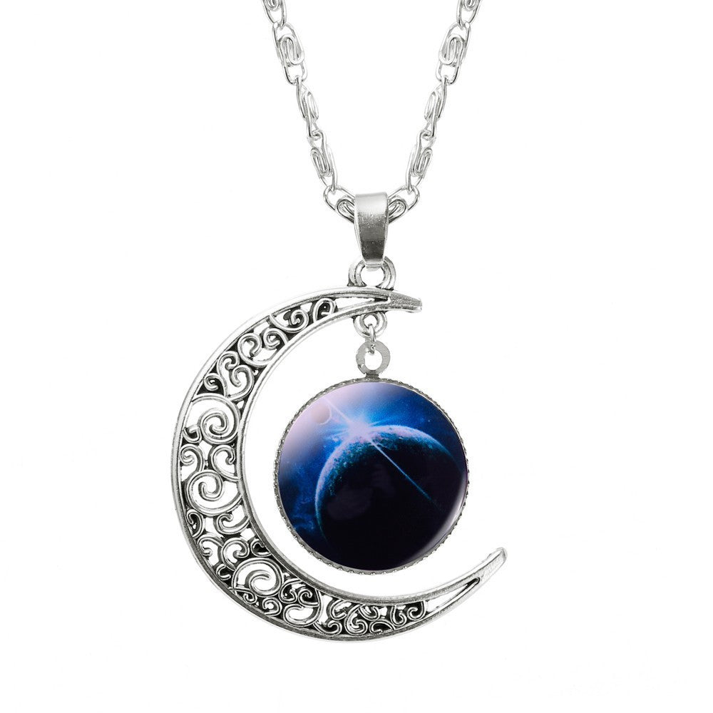Hollow Moon Galaxy Necklace-Necklace-Kirijewels.com-blue moon & sky-Kirijewels.com