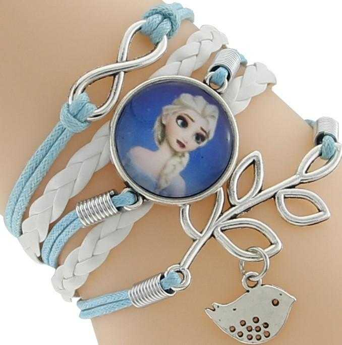 Princess Kids Leather Charm Bracelet-Chain & Link Bracelets-Kirijewels.com-Blue & White 6-Kirijewels.com