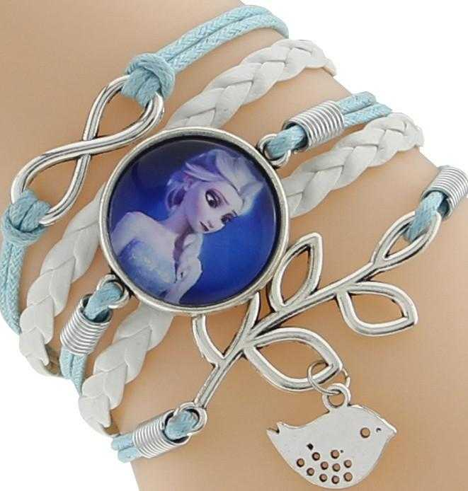 Princess Kids Leather Charm Bracelet-Chain & Link Bracelets-Kirijewels.com-Blue & White 1-Kirijewels.com