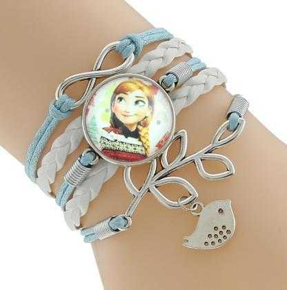 Princess Kids Leather Charm Bracelet-Chain & Link Bracelets-Kirijewels.com-Blue & White 4-Kirijewels.com