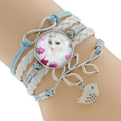 Princess Kids Leather Charm Bracelet-Chain & Link Bracelets-Kirijewels.com-Blue & White 5-Kirijewels.com