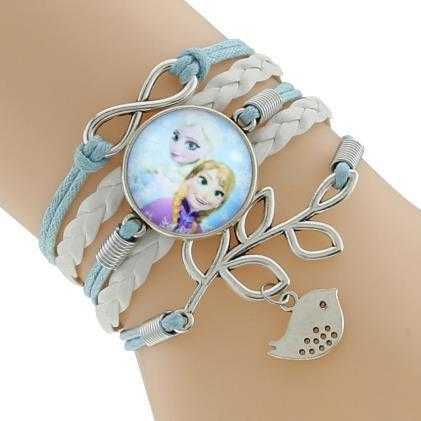 Princess Kids Leather Charm Bracelet-Chain & Link Bracelets-Kirijewels.com-White & Blue 2-Kirijewels.com