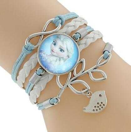 Princess Kids Leather Charm Bracelet-Chain & Link Bracelets-Kirijewels.com-Blue & White 3-Kirijewels.com