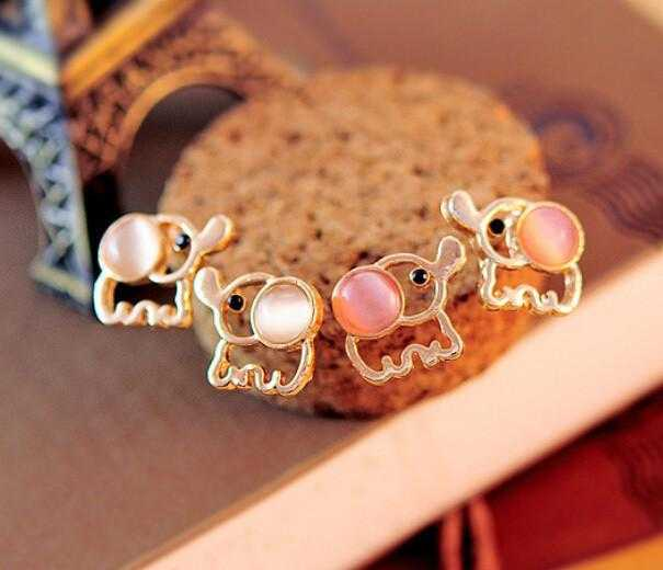Free Baby Elephant Opal Stud Earrings-Stud Earrings-Kirijewels.com-beige-Kirijewels.com