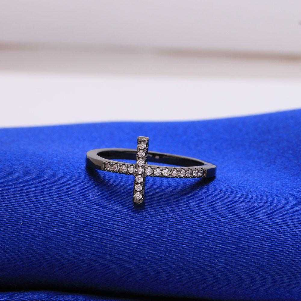 Free Sideways Silver Plated Cross Ring-Rings-Kirijewels.com-6-Rose Gold Color-Kirijewels.com
