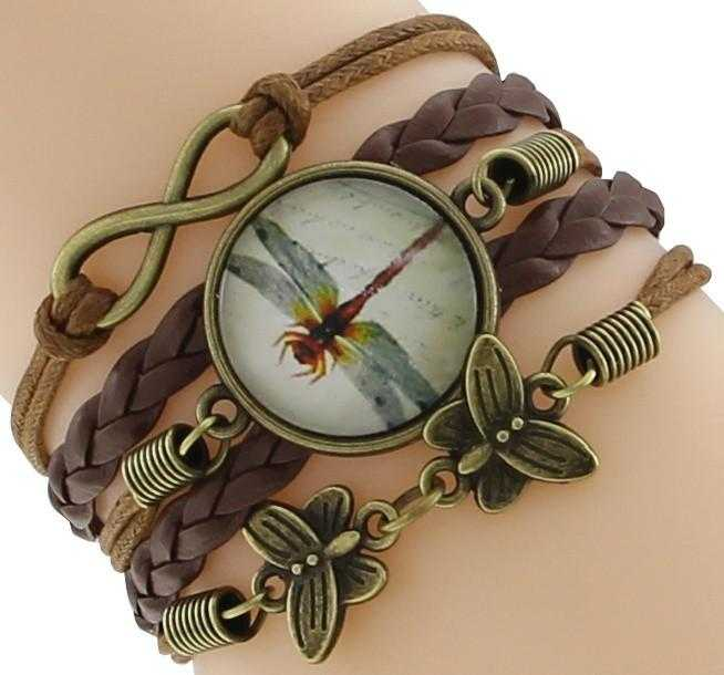 Infinity Dragonfly Butterfly Leather Bracelet-Chain & Link Bracelets-Kirijewels.com-Brown Dragonfly-Kirijewels.com