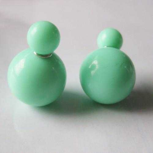 Free Brinco Double Side Pearl Earrings-Stud Earrings-Kirijewels.com-candy green-Kirijewels.com