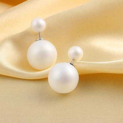 Brinco Double Side Pearl Earrings-Stud Earrings-Kirijewels.com-matt white-Kirijewels.com
