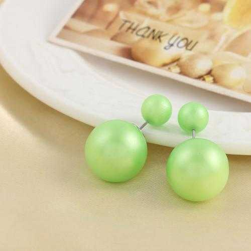 Brinco Double Side Pearl Earrings-Stud Earrings-Kirijewels.com-matt green-Kirijewels.com