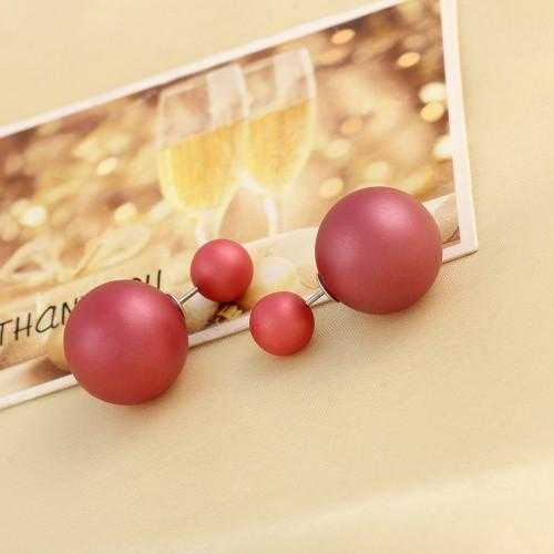 Free Brinco Double Side Pearl Earrings-Stud Earrings-Kirijewels.com-matt red-Kirijewels.com