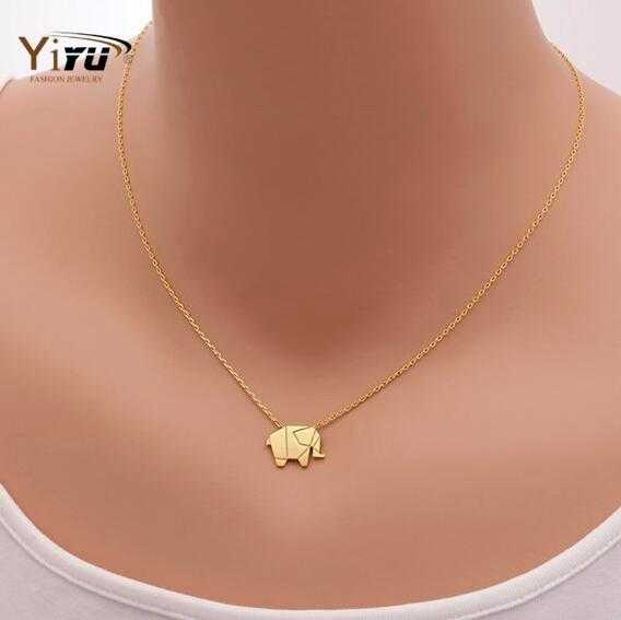 Free Origami Elephant Pendant Necklace-Pendant Necklaces-Kirijewels.com-18K Gold Plated-Kirijewels.com