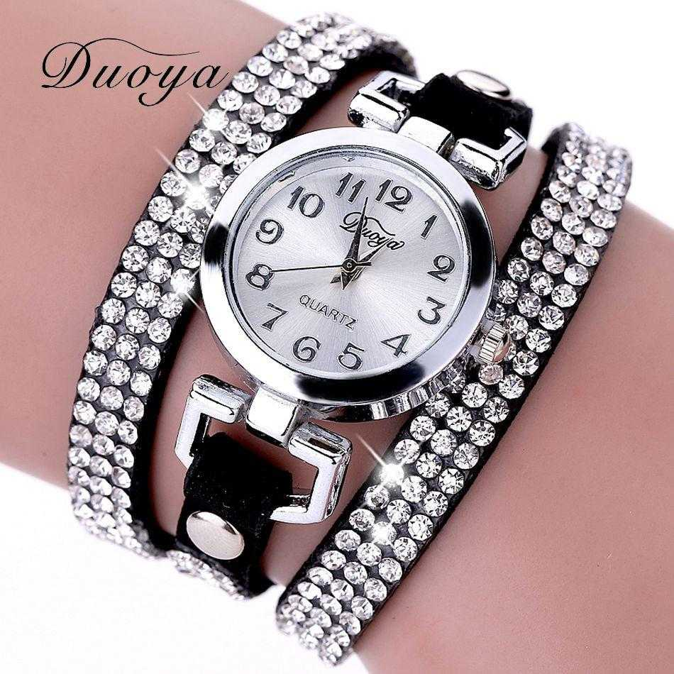 Free Luxury Rhinestone Bracelet Wristwatch-Watch-Kirijewels.com-Black-Kirijewels.com