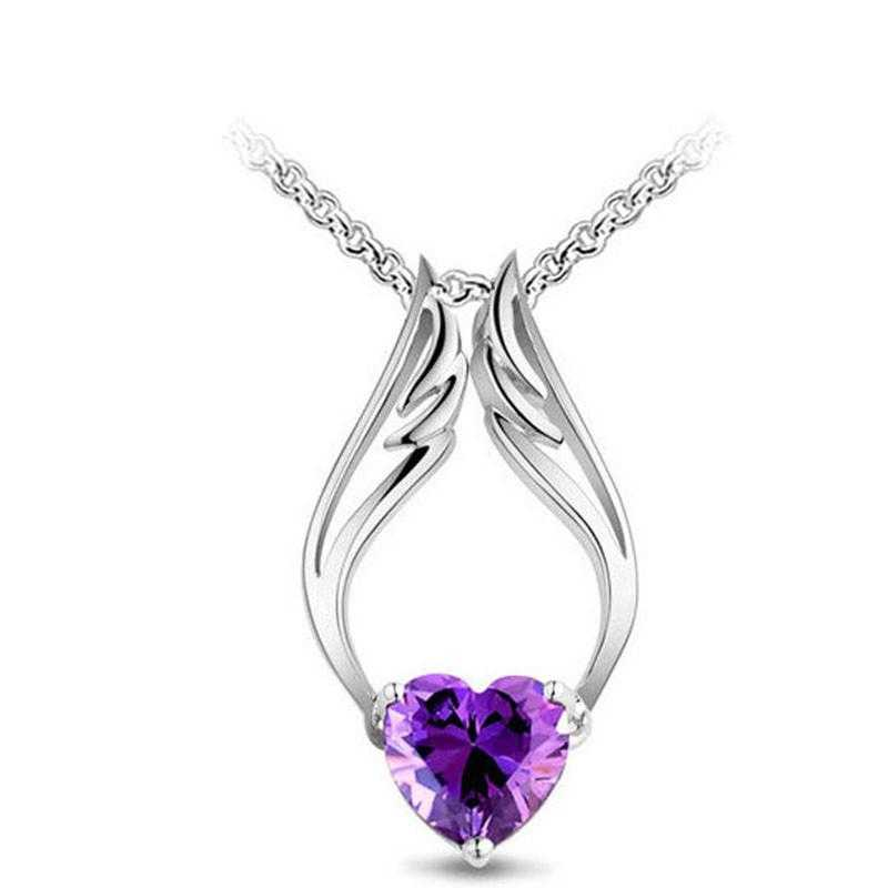 Crystal Angel Heart Wing Necklace-Necklace-Kirijewels.com-purple-Kirijewels.com