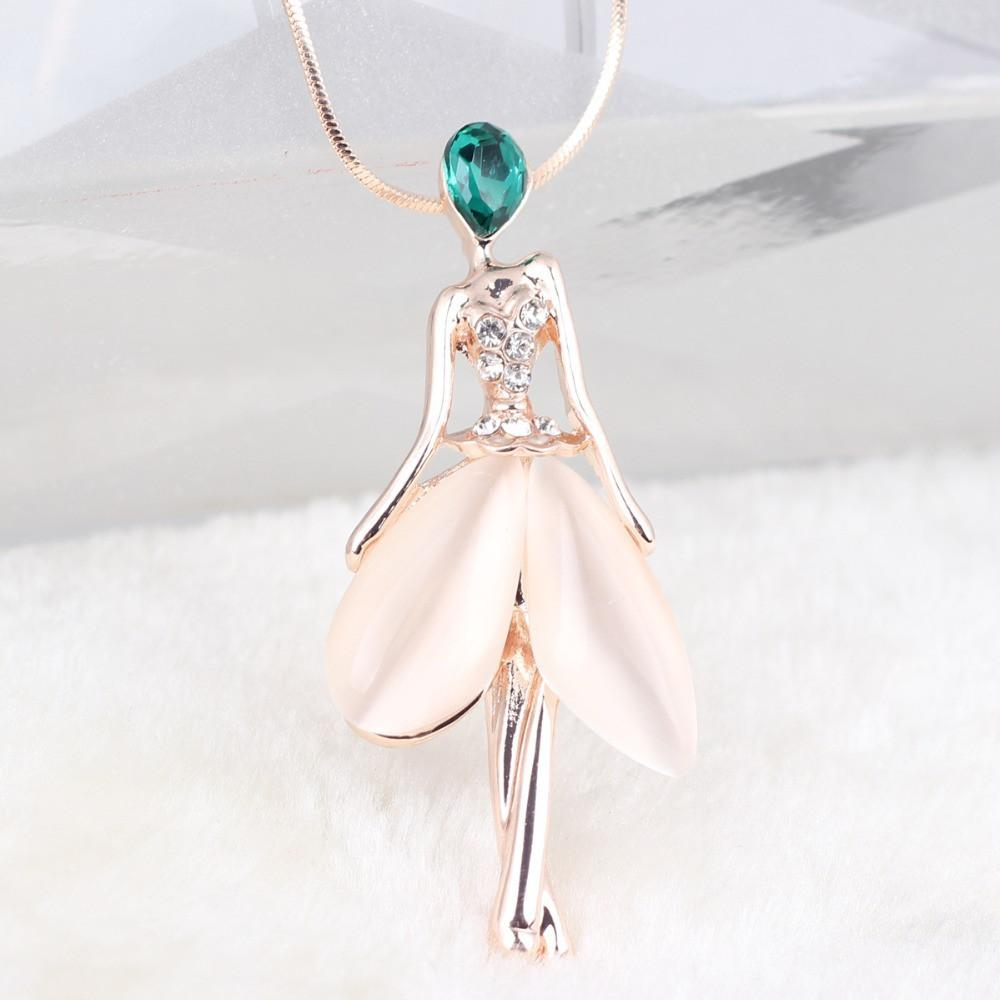 Opal Fairy Crystal Chain Angel Pendant Necklace