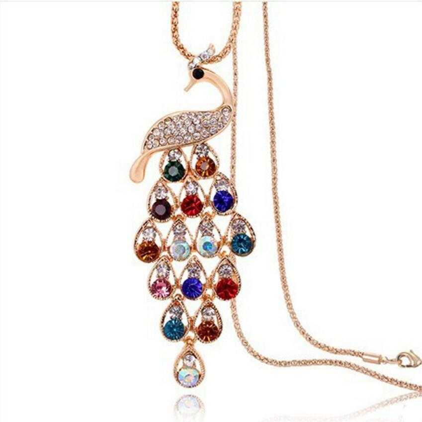 Colorful Peacock Long Pendant Necklace-Chain Necklaces-Kirijewels.com-gold-Kirijewels.com