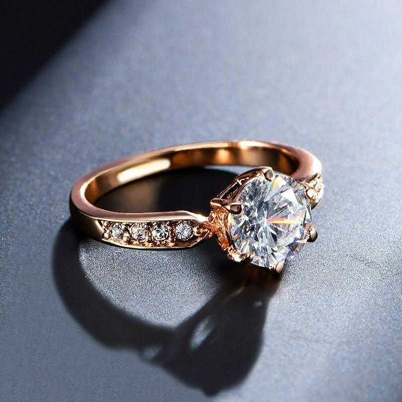 Triple A Zircon Austrian Crystal Engagement Ring-Rings-Kirijewels.com-6-Rose Gold Color-Kirijewels.com