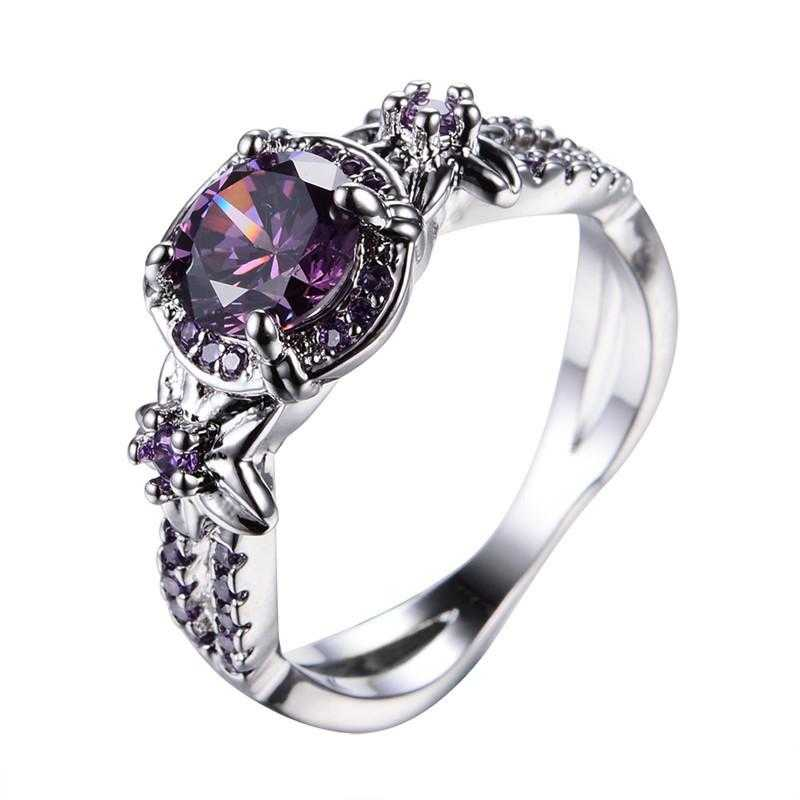 Free Sterling Silver Purple Zircon Claw Ring-Rings-Kirijewels.com-6-Purple-Kirijewels.com