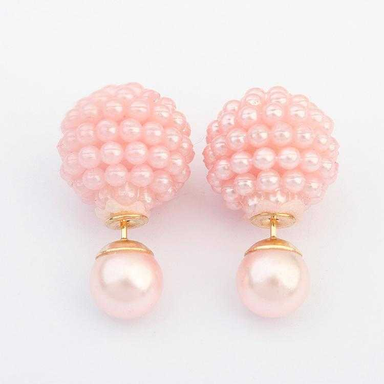 Double Side Imitation Pearl Fashion Earrings-Stud Earrings-Kirijewels.com-pink-Kirijewels.com