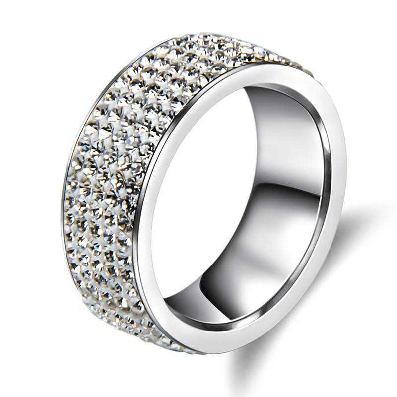 Full Finger Crystal Wedding Ring-Rings-Kirijewels.com-6-steel color-Kirijewels.com