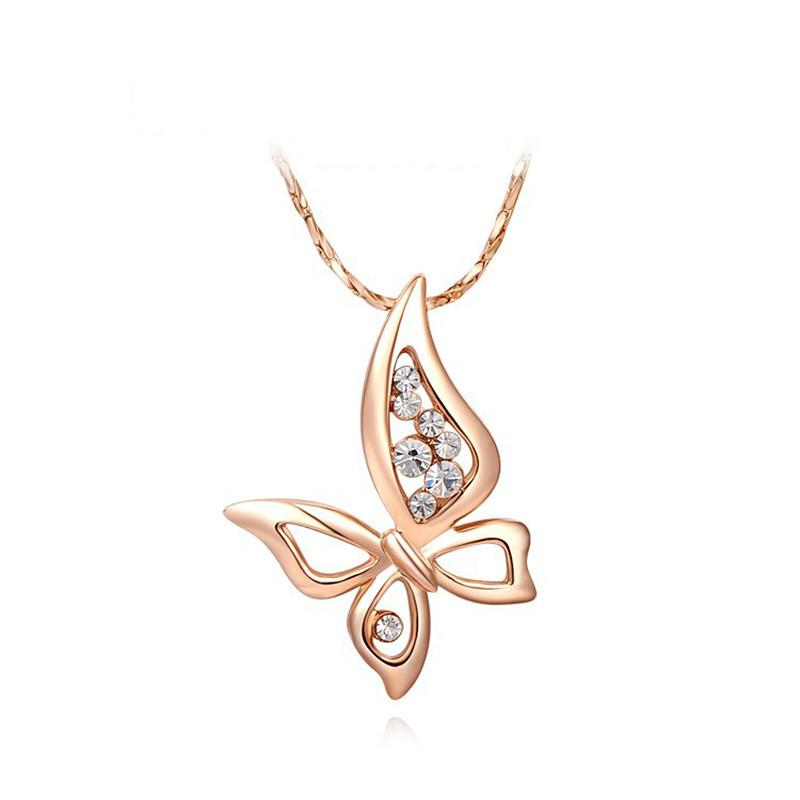 Rose Gold Butterfly Pendant Necklace-Pendant Necklaces-Kirijewels.com-2030202390-White-Kirijewels.com