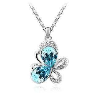Rhinestone Butterfly Necklace-Pendant Necklaces-Kirijewels.com-silver dark blue-Kirijewels.com