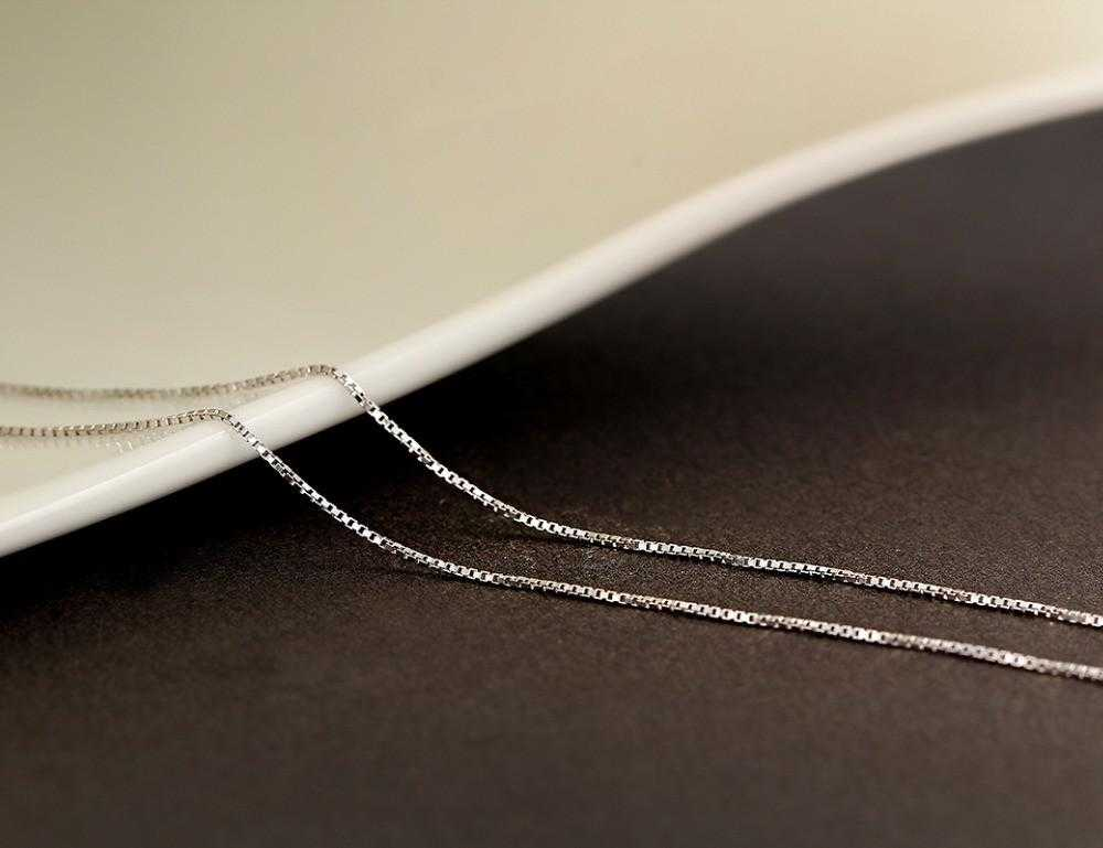 Real 925 Sterling Silver Slim Box Chain Necklace-Chain Necklaces-Kirijewels.com-40cm 16in-Kirijewels.com