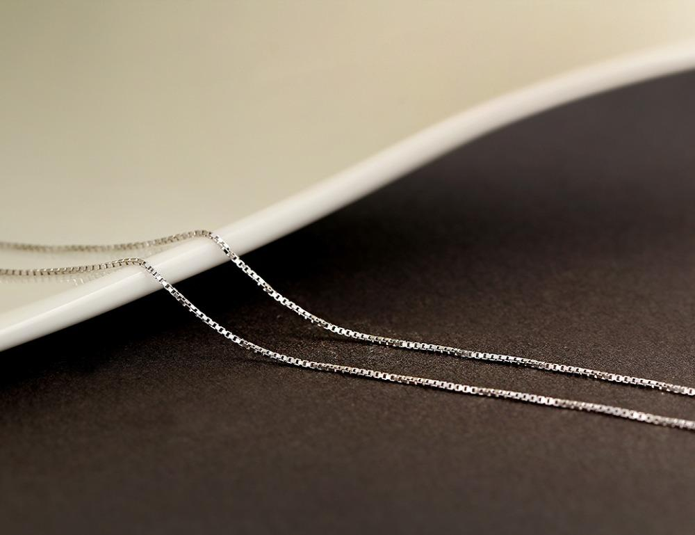 Kolye Sterling Silver Slim Box Chain Necklace-Chain Necklaces-Kirijewels.com-40cm 16in-Silver-Kirijewels.com