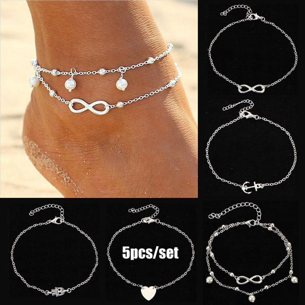 Barefoot 5Pcs Retro Pearl Heart Infinity Anklet Set