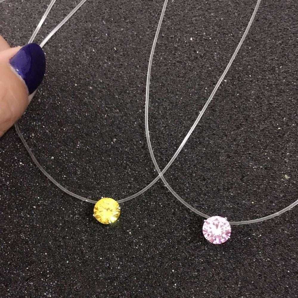 Invisible Fishing Line Necklace/2-Pendant Necklaces-Kirijewels.com-Yellow-Kirijewels.com