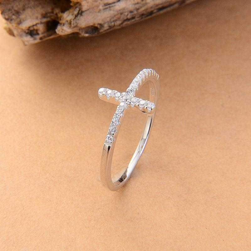 Free Sideways Silver Plated Cross Ring-Rings-Kirijewels.com-6-Platinum Plated-Kirijewels.com