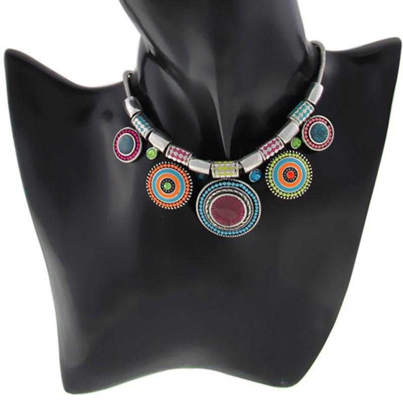 Ethnic Collares Statement Necklace-Choker Necklaces-Kirijewels.com-multi-Kirijewels.com