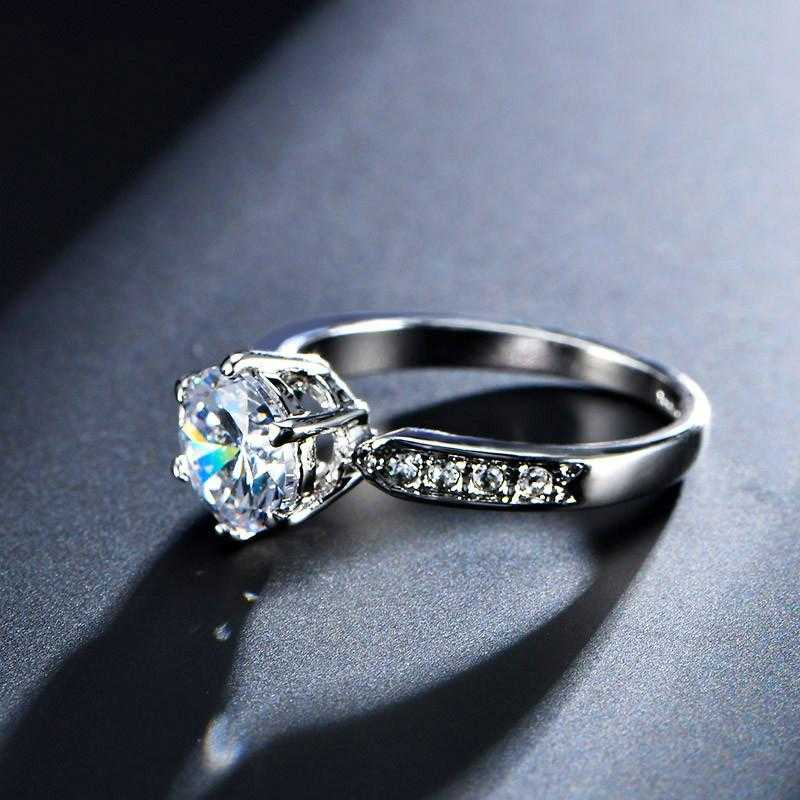Sterling Silver Luxury Engagement Ring-Rings-Kirijewels.com-6-Silver Plated-Kirijewels.com