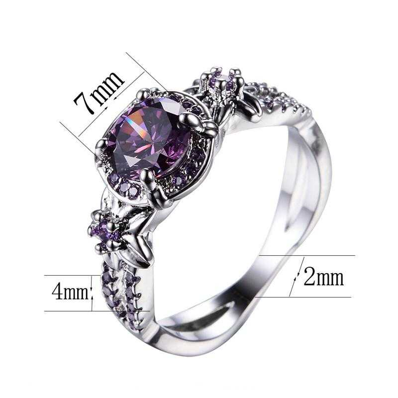 Free Sterling Silver Purple Zircon Claw Ring-Rings-Kirijewels.com-10-Purple-Kirijewels.com