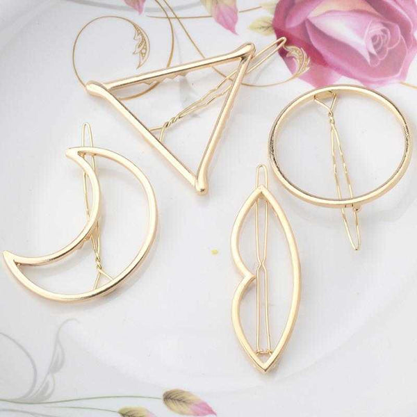 Triangle Moon Hair Pins-Hair Accessories-Kirijewels.com-Gold lip-Kirijewels.com