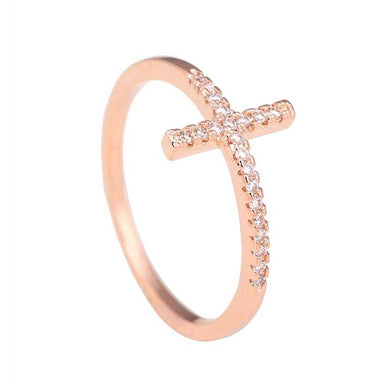 Sideways Silver Plated Cross Ring-Rings-Kirijewels.com-6-Rose Gold Color-Kirijewels.com