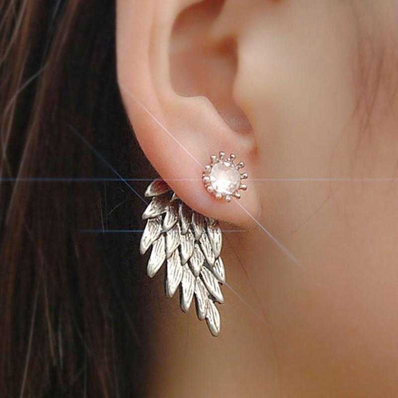 Free Angel Wings Alloy Crystal Stud Earrings-Stud Earrings-Kirijewels.com-Black-Kirijewels.com