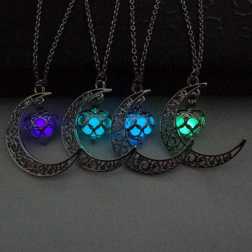 Free Moon Love Heart Fluorescent Necklace-Pendant Necklaces-Kirijewels.com-purple-Kirijewels.com