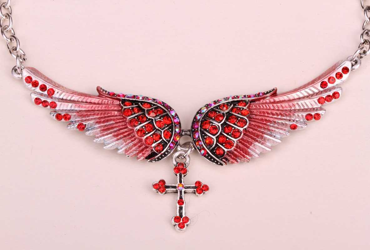 Crystal Angel Wing Cross Necklace-Pendant Necklaces-Kirijewels.com-red crystal-Kirijewels.com