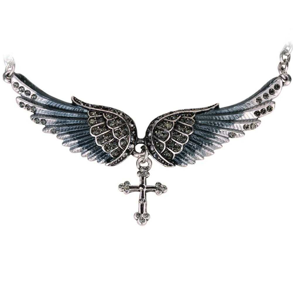 Crystal Angel Wing Cross Necklace-Pendant Necklaces-Kirijewels.com-gray crystal-Kirijewels.com