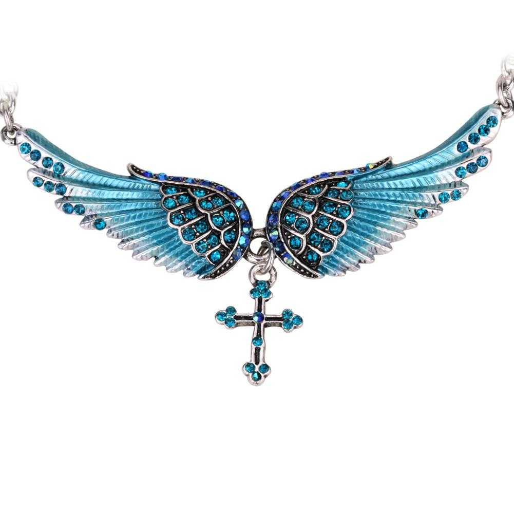 Crystal Angel Wing Cross Necklace-Pendant Necklaces-Kirijewels.com-blue crystal-Kirijewels.com