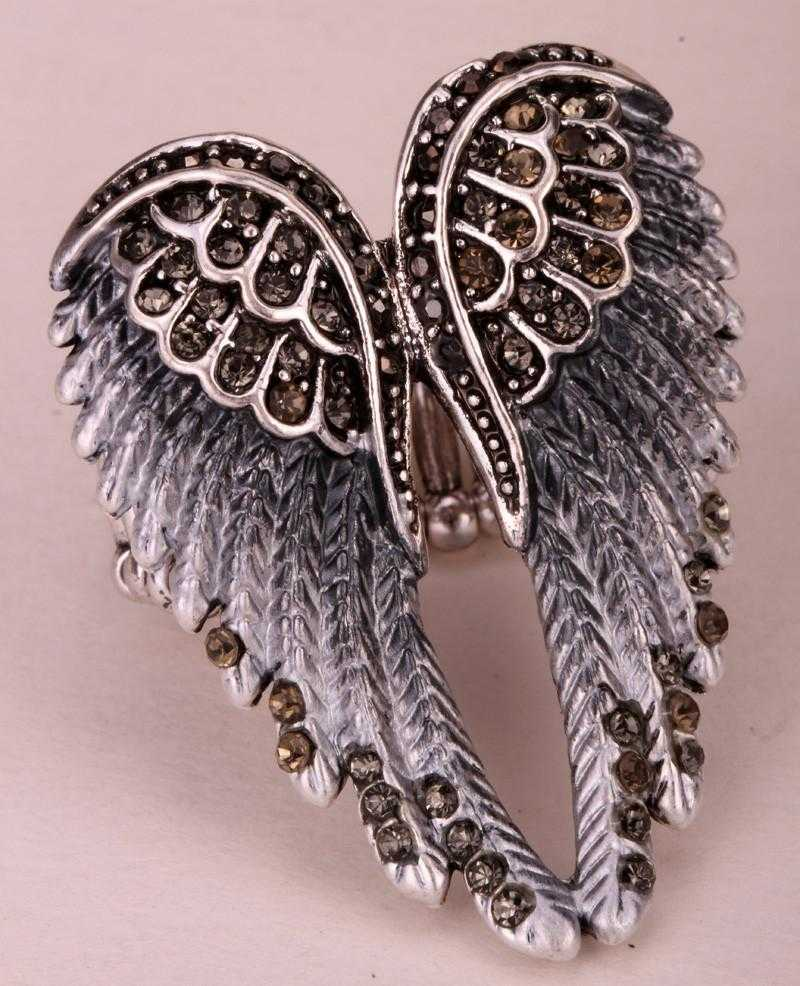 Free Angel Wings Stretch Ring-Rings-Kirijewels.com-Resizable-gray-Kirijewels.com