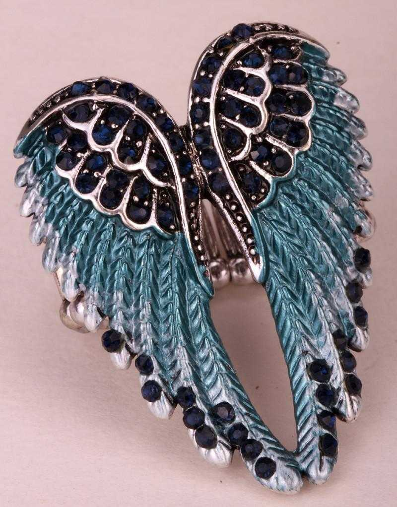 Angel Wings Stretch Ring/2-Rings-Kirijewels.com-Resizable-dark blue-Kirijewels.com