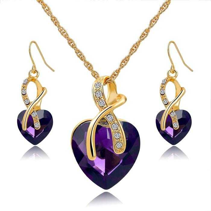 LongWay Austrian Crystal Heart Jewelry Set-Jewelry Set-Kirijewels.com-Gold Purple-Kirijewels.com