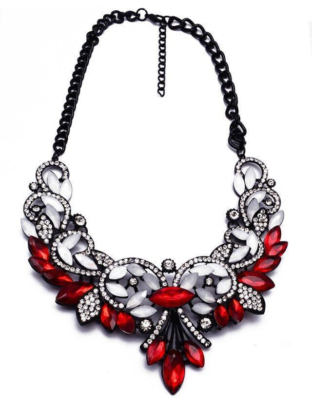Best Lady Crystal Statement Necklace-Pendant Necklaces-Kirijewels.com-Red White-Kirijewels.com