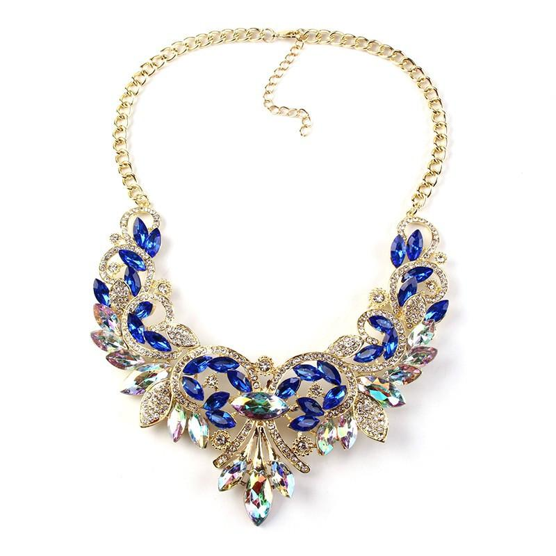 Best Lady Crystal Statement Necklace-Pendant Necklaces-Kirijewels.com-blue-Kirijewels.com