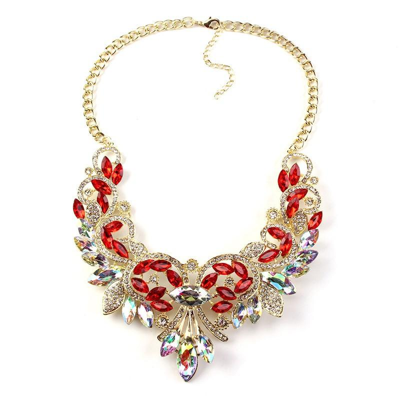 Best Lady Crystal Statement Necklace-Pendant Necklaces-Kirijewels.com-Red-Kirijewels.com