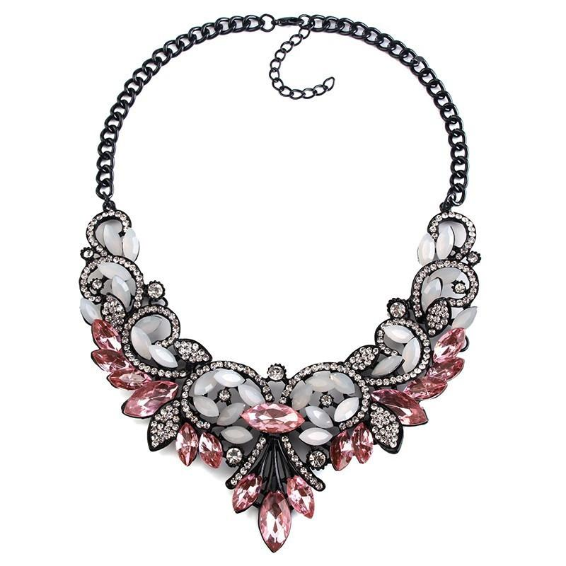 Best Lady Crystal Statement Necklace-Pendant Necklaces-Kirijewels.com-Pink-Kirijewels.com