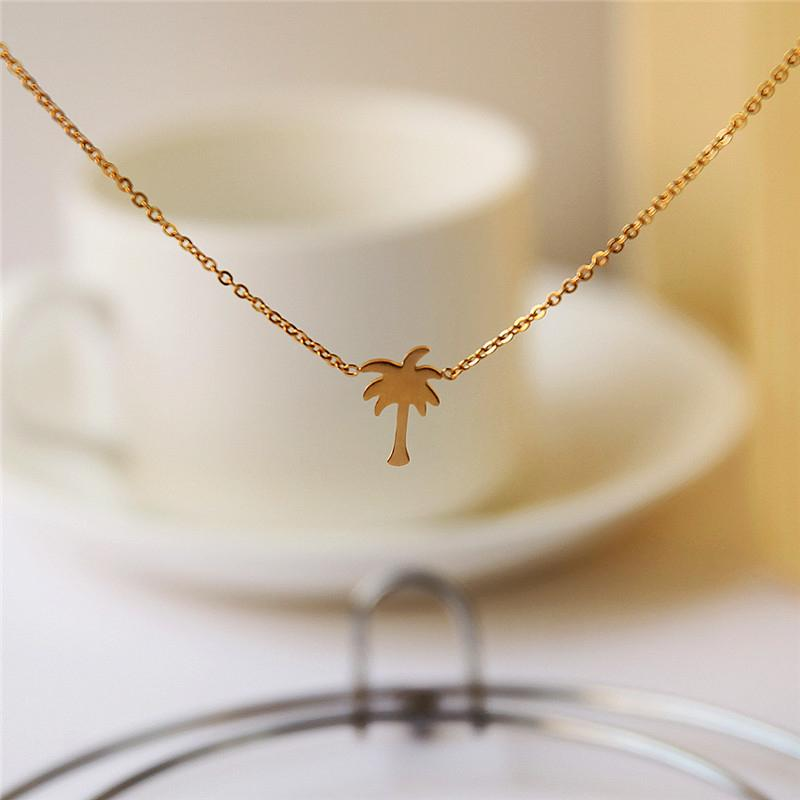 Island Life Gold Palm Tree Necklace-Pendant Necklaces-Kirijewels.com-Gold-color-Kirijewels.com