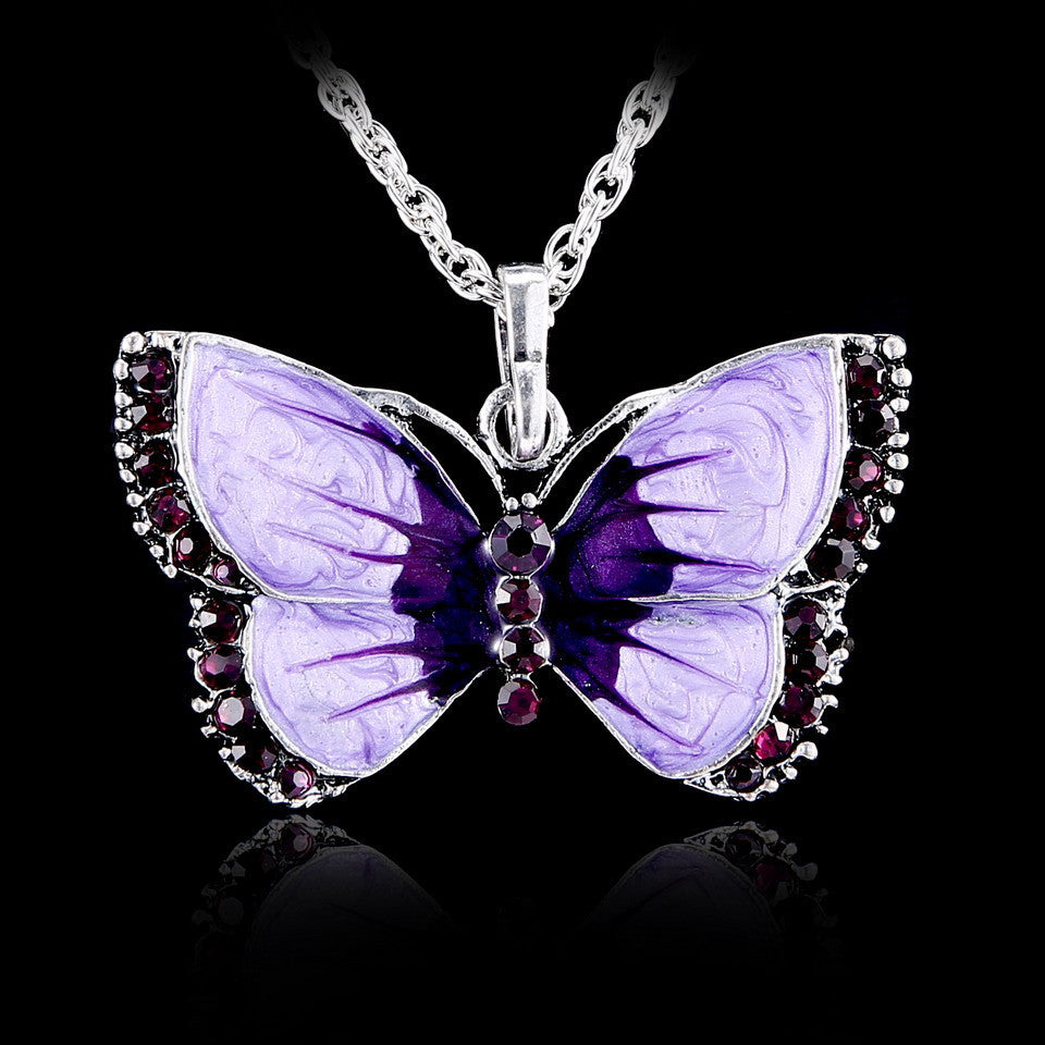 BUTTERFLY  CRYSTAL PENDANT NECKLACE 6 COLORS NEW